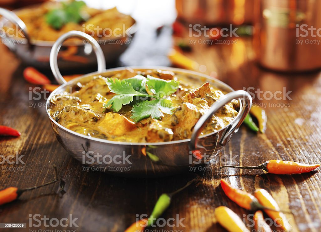 indian saag paneer curry stock photo