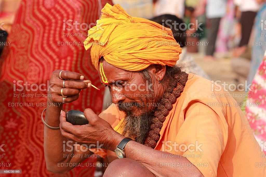 Indian Sadhu in Kumbh Mela stock photo