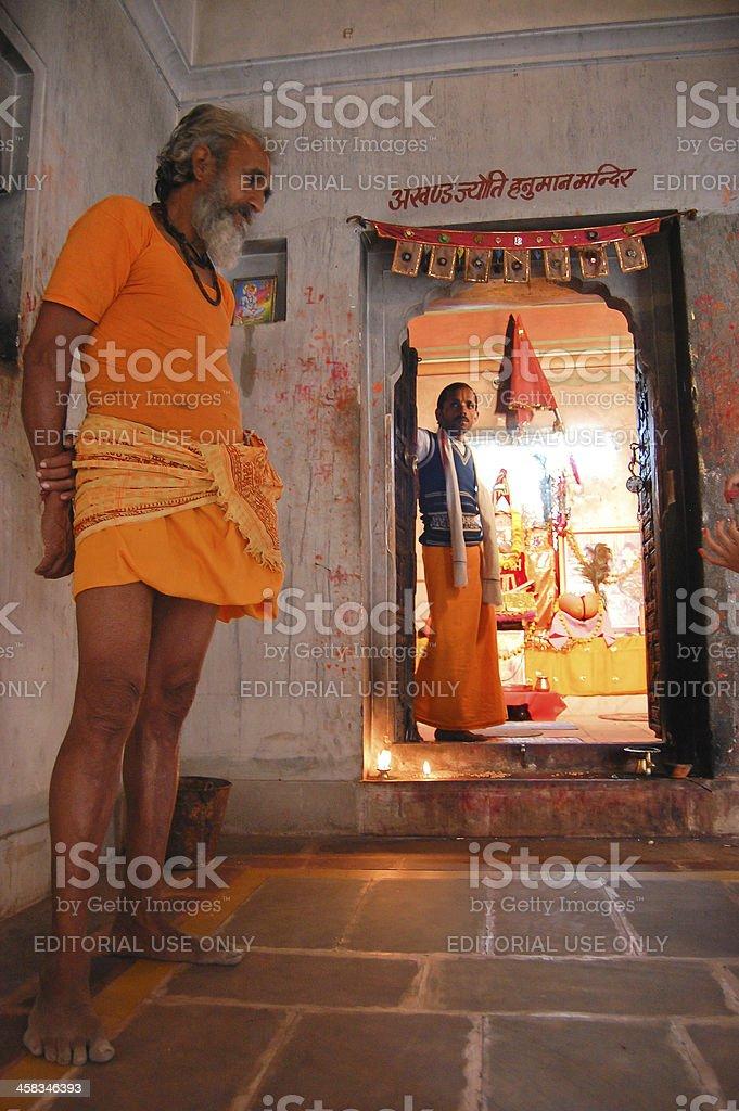 Indian Sadhu in the Galtaji Temple. royalty-free stock photo