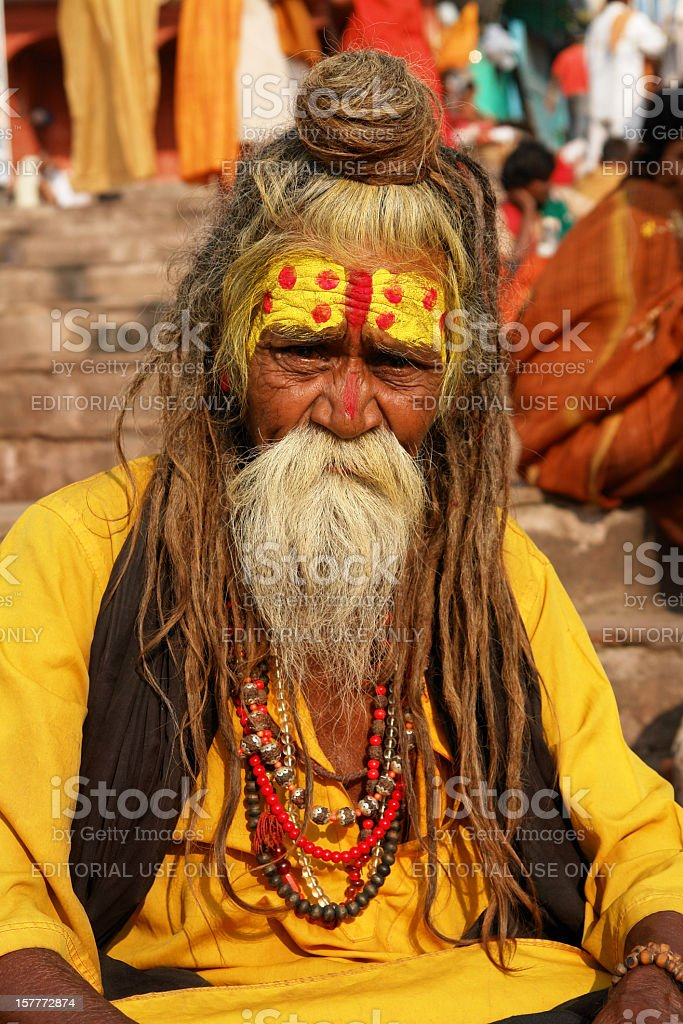 Indian Sadhu in Varanasi royalty-free stock photo