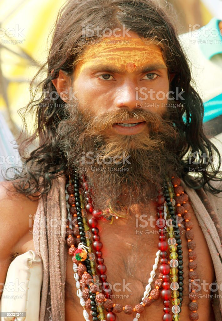 Indian Sadhu portrait stock photo