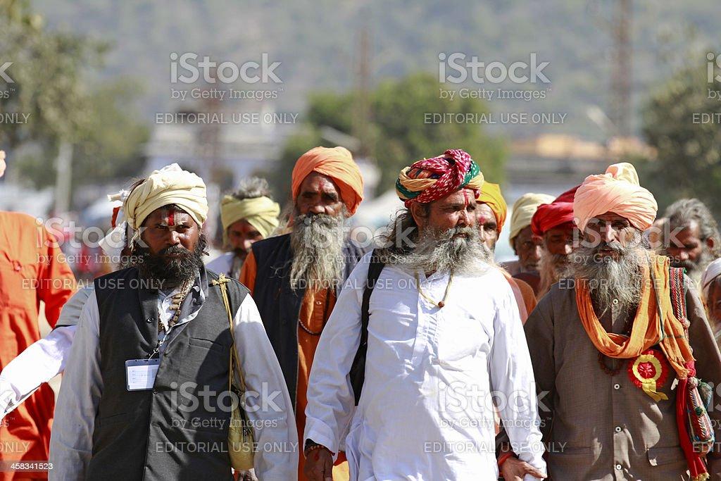 Indian sadhus at Pushkar stock photo