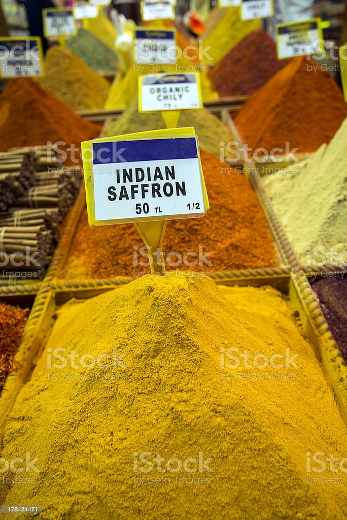 Indian saffron in Turkish spice market stock photo
