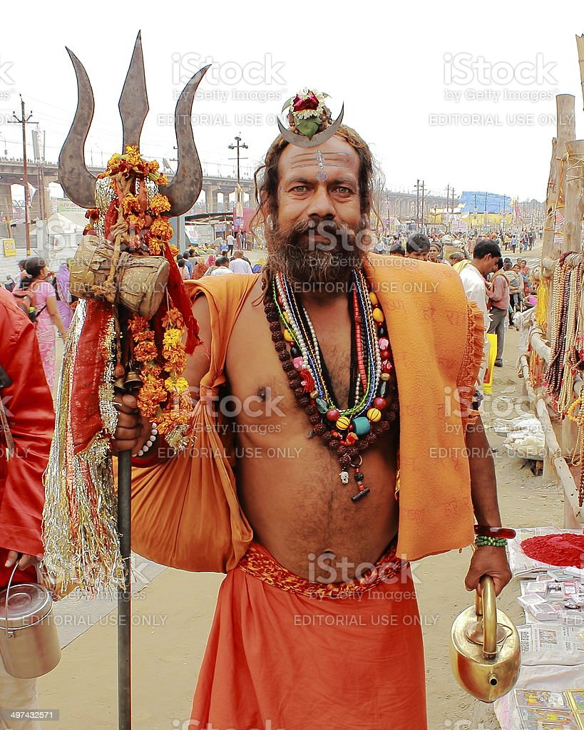 Indian sage in Kumbh Mela, 2013 stock photo