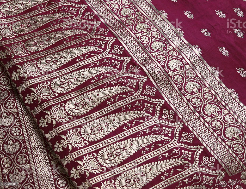 Indian Saree embroidery design close-up royalty-free stock photo