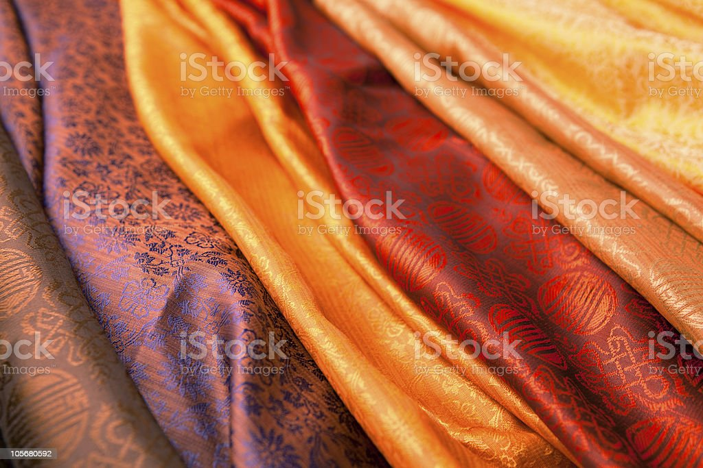 Indian scarves in many colors for display stock photo