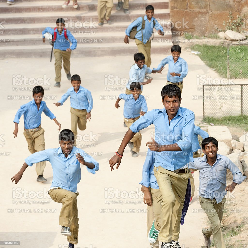 Indian Schoolboys Running royalty-free stock photo