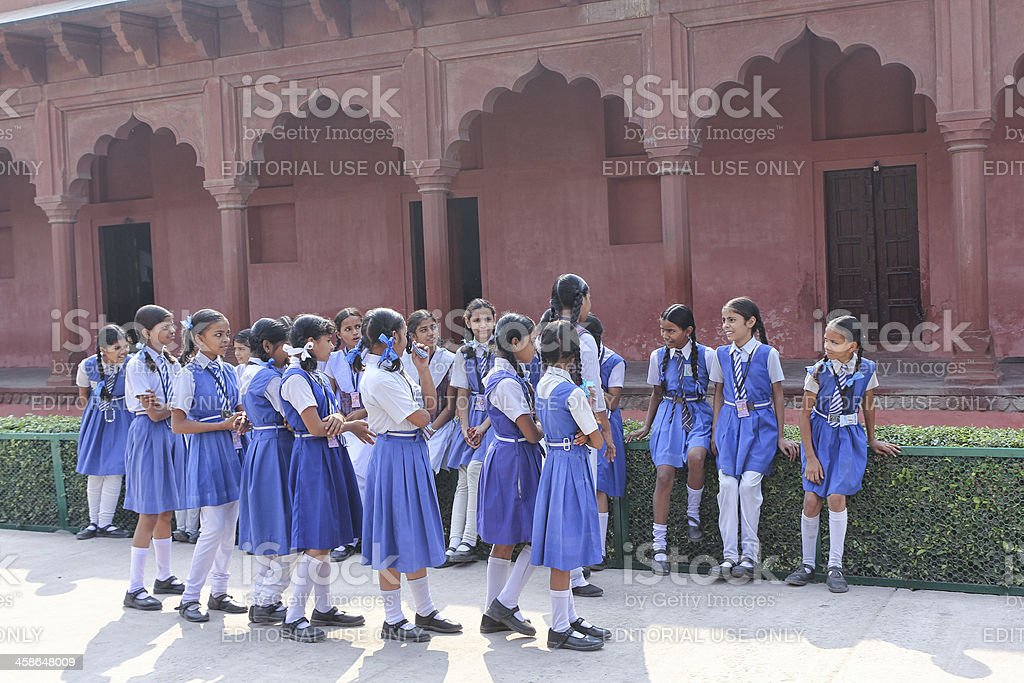 Indian Schoolgirls In School Uniforms royalty-free stock photo