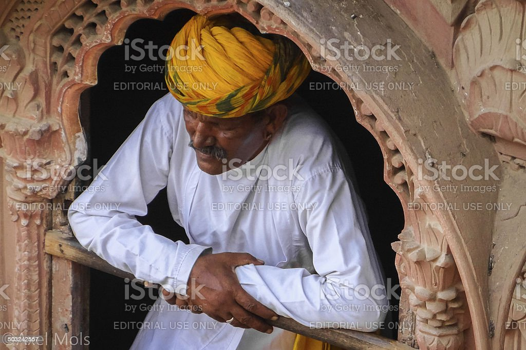 Indian Sikh at Jodhpur Fort stock photo