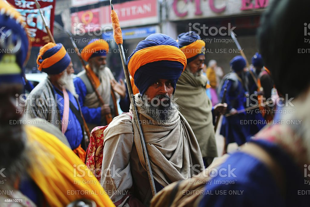 Indian Sikh devotees march royalty-free stock photo
