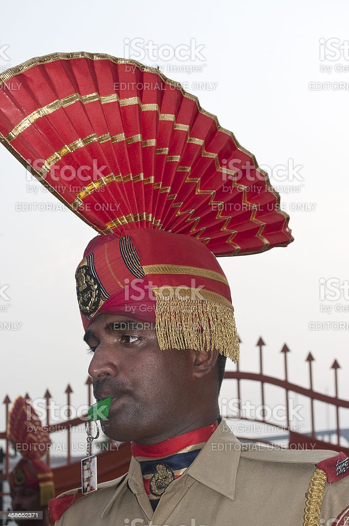 Indian Soldier with Whistle Pakistani Border royalty-free stock photo