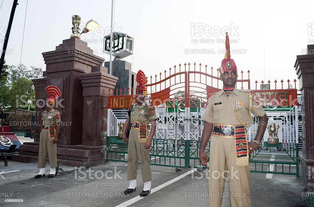 Indian Soldiers after Flag Ceremony Pakistani Border royalty-free stock photo