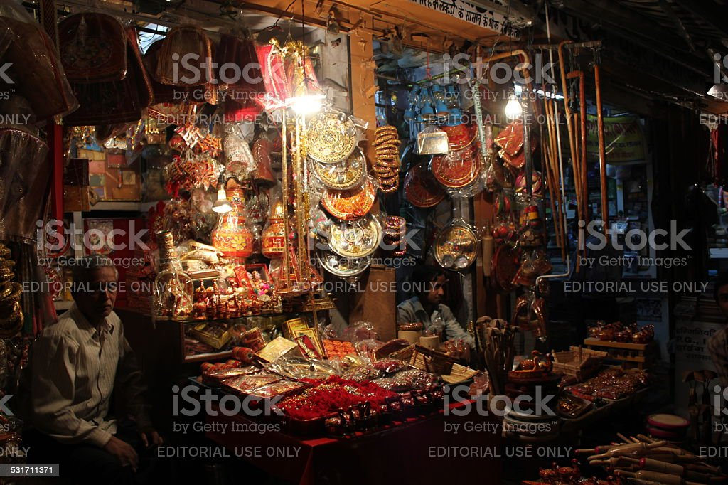 Indian souq at night, stock photo