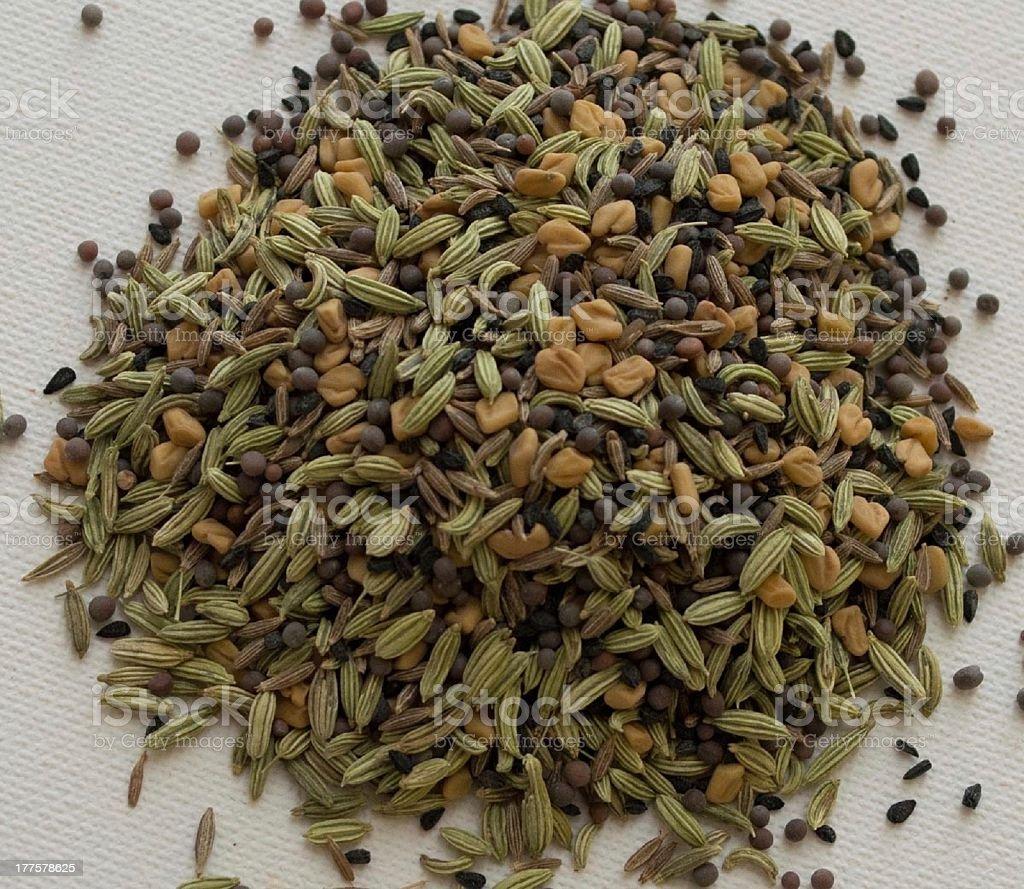 Indian spice mix Panch Phoron stock photo