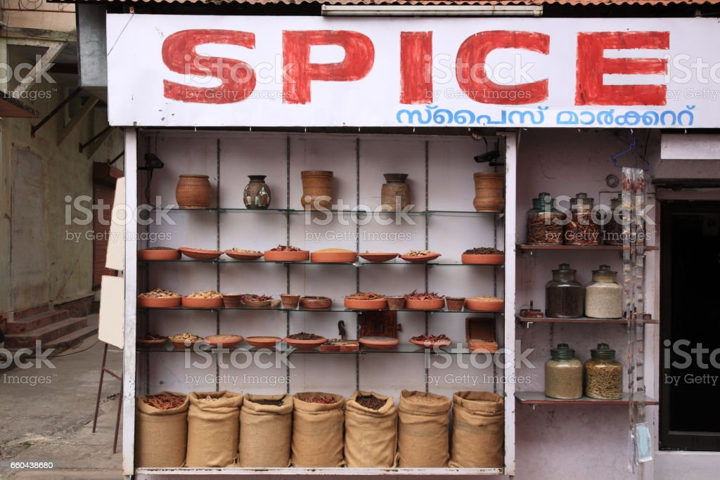 Indian spices and herbs at Jew town, Kochi, Kerala, India stock photo