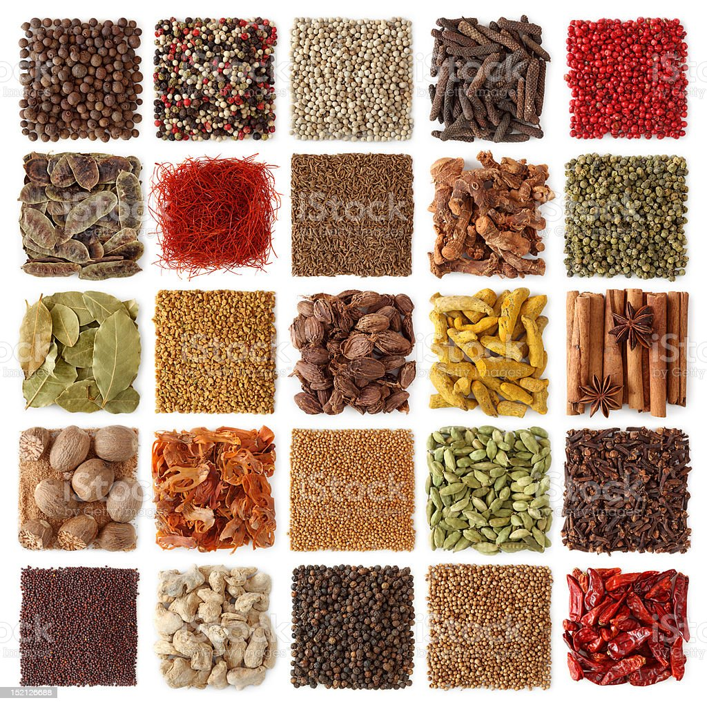 Indian spices collection isolated on white background stock photo