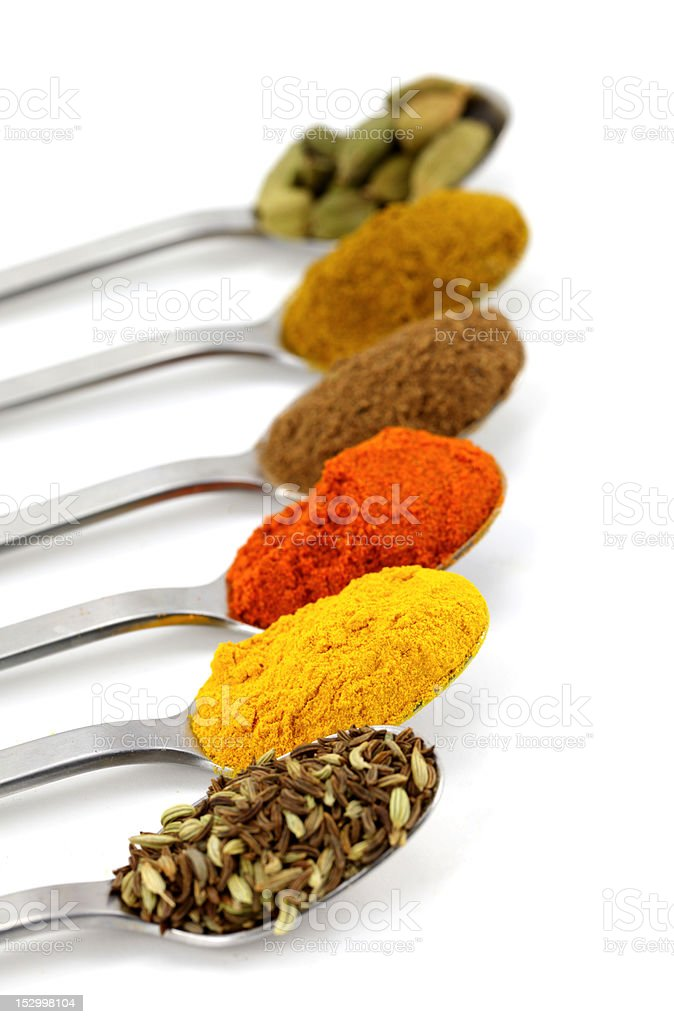 Indian spices in teaspoons royalty-free stock photo