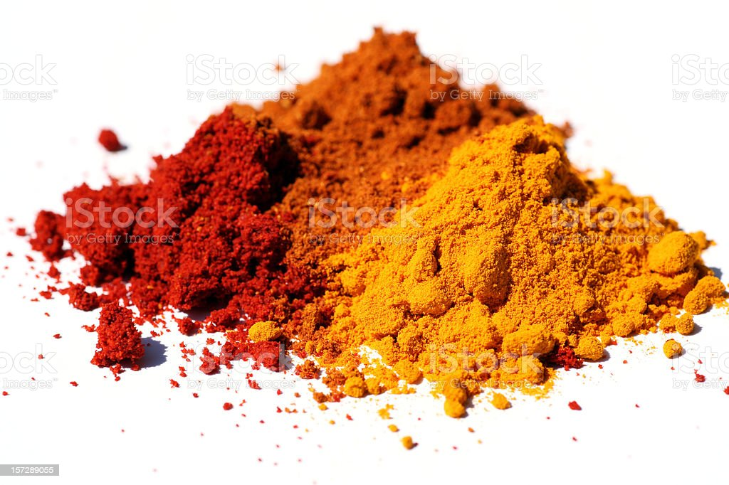 Indian spices on white background stock photo