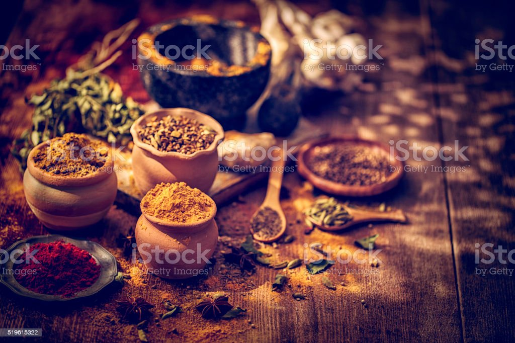 Indian Spices on Wooden Background stock photo