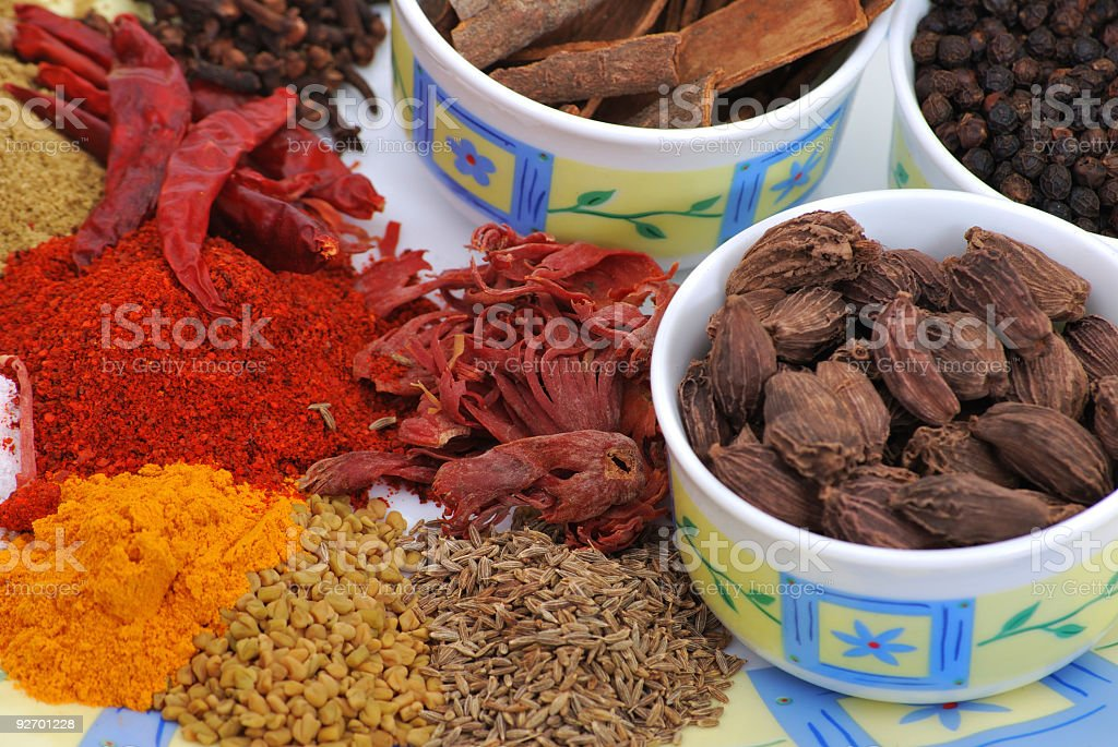 indian spices - used in cooking stock photo