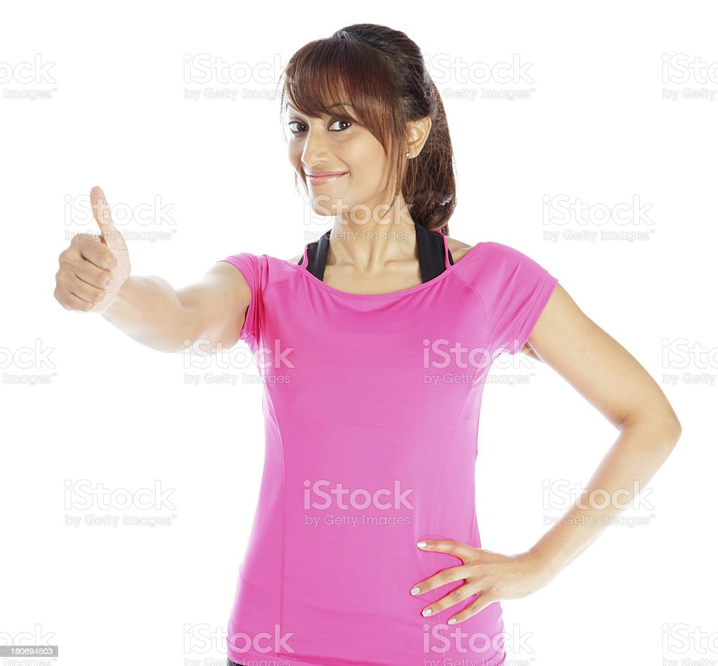 Indian Sporty woman white background royalty-free stock photo