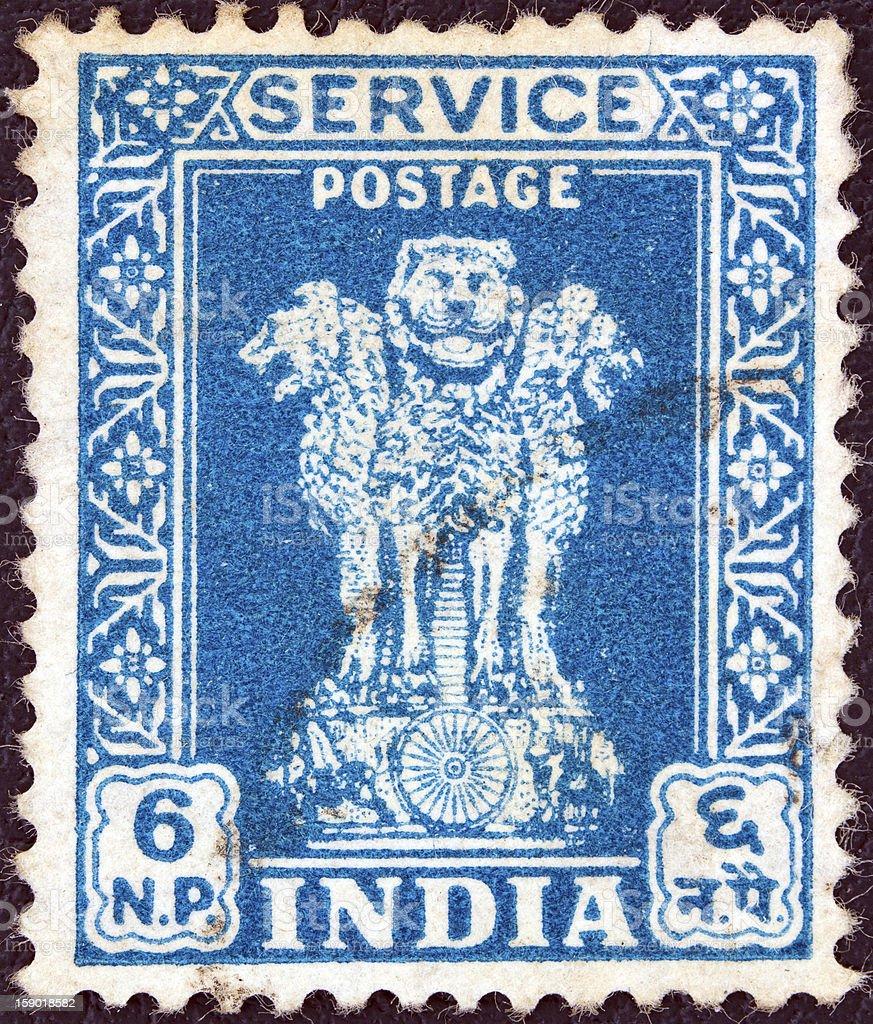 Indian stamp shows four lions capital of Ashoka Pillar (1957) stock photo