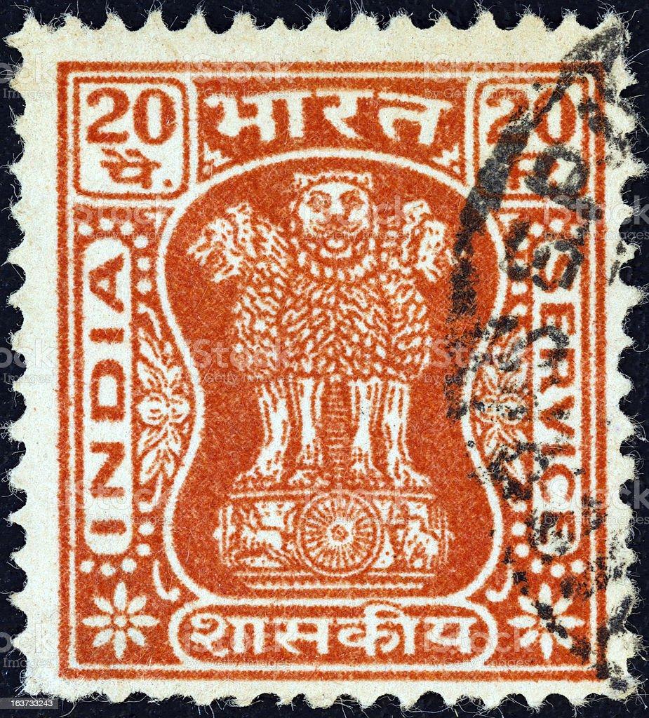 Indian stamp shows four lions capital of Ashoka Pillar (1967) stock photo