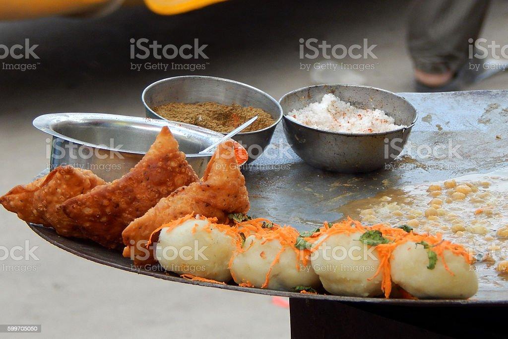 Indian street food samosa chaat stock photo