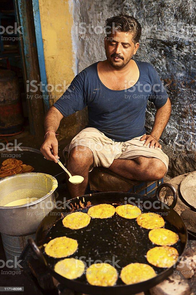 Indian street food seller, stock photo