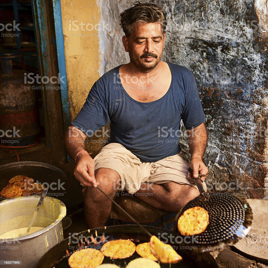 Indian street food seller royalty-free stock photo