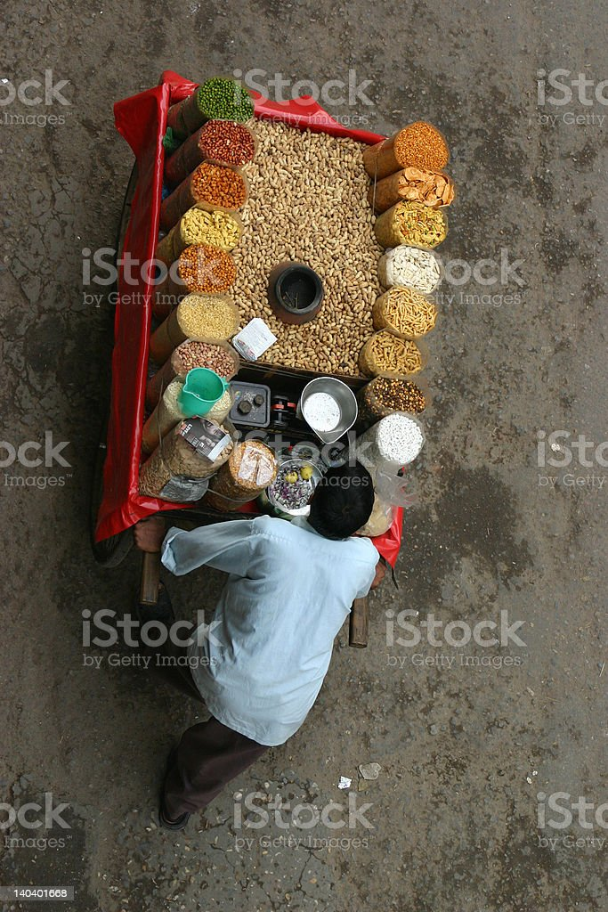 Indian street grain seller royalty-free stock photo