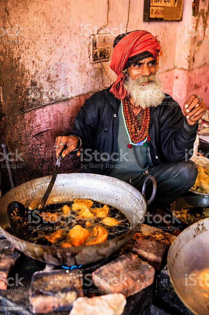 Indian street vendor preparing food, Jaipur, India stock photo