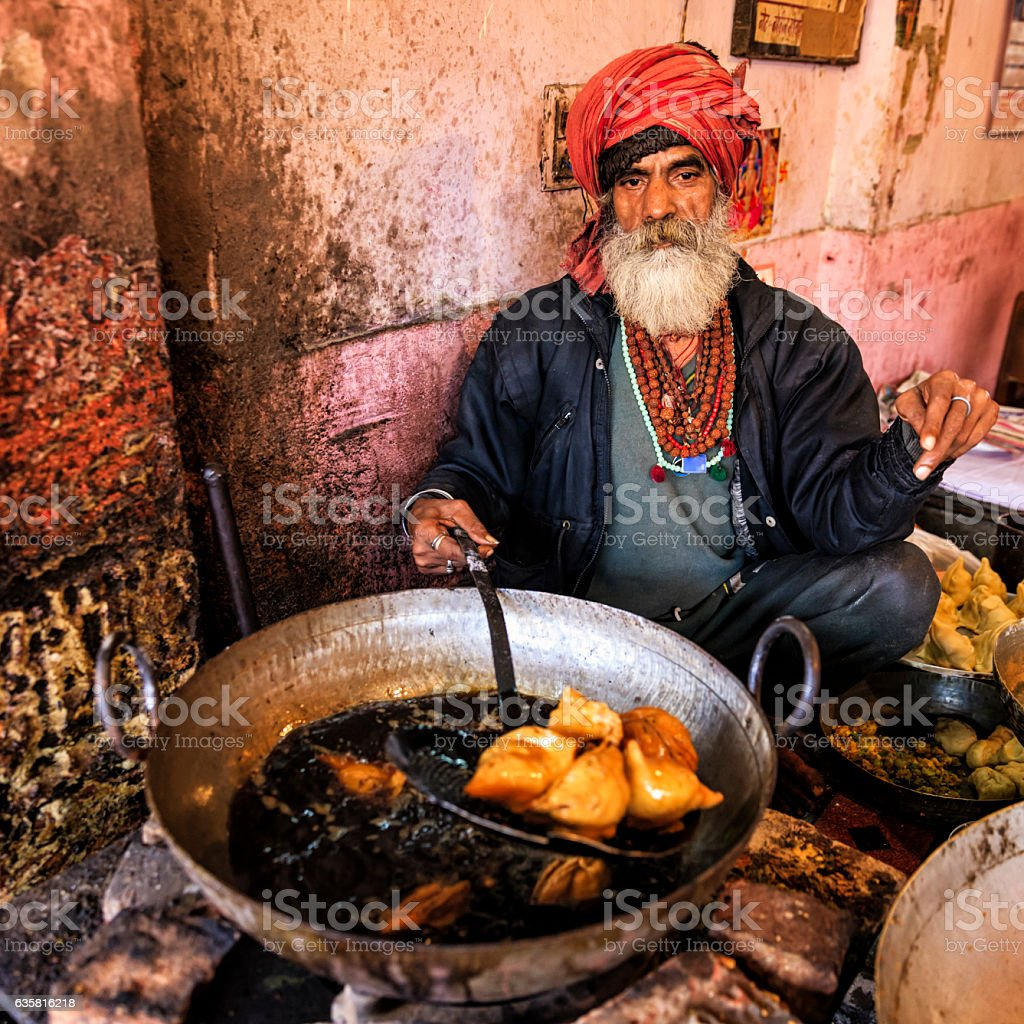 Indian street vendor preparing food, Jaipur, India stock photo
