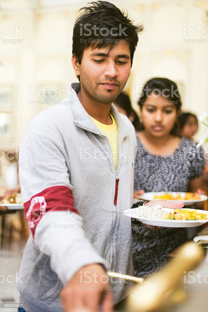 Indian Students in School Canteen stock photo
