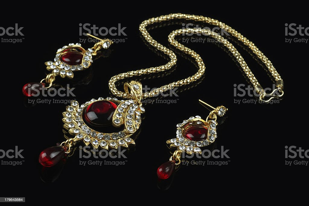 Indian Style Jewelry Set - Necklace and Earrings royalty-free stock photo