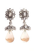 Indian style Semi-Precious Zircon Earrings (Jhumka ) with Teardrop stone