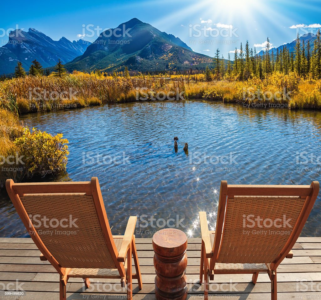 Indian summer in the Rocky Mountains stock photo