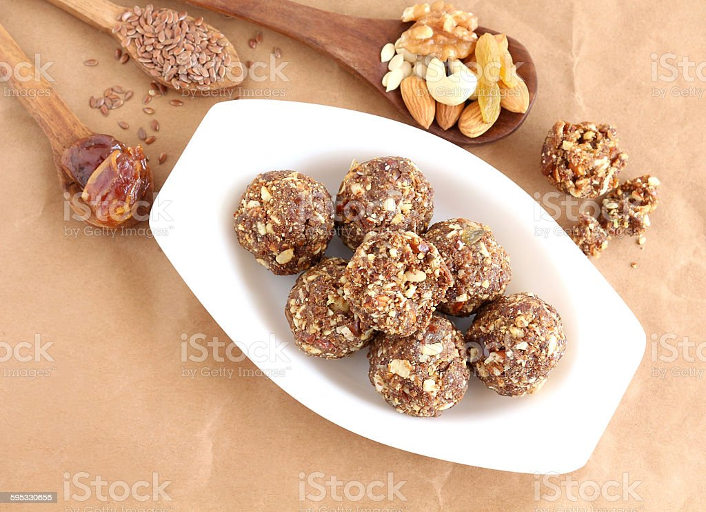 Indian Sweet Dish Dry Fruits and Nuts Laddu stock photo