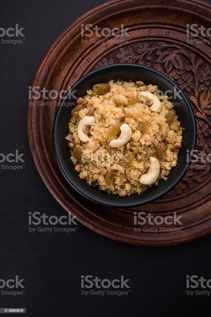 indian sweet sheera, shira, lapsi, halwa, pongal stock photo