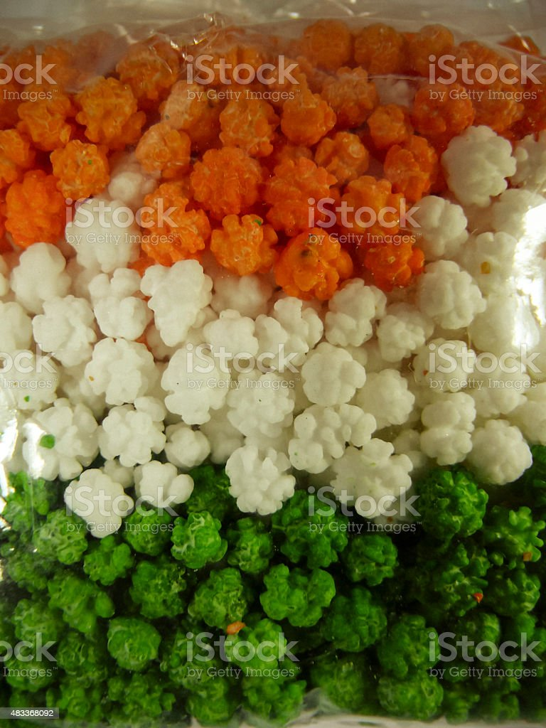 Indian Sweet Snacks in form of Indian Tricolor Flag stock photo