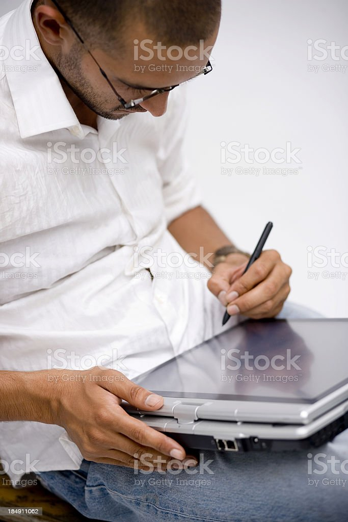 Indian Tablet PC Laptop Man stock photo