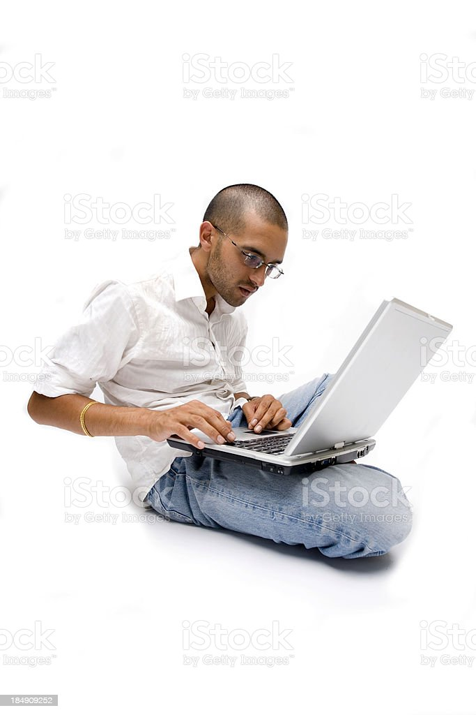 Indian Tablet PC Man stock photo