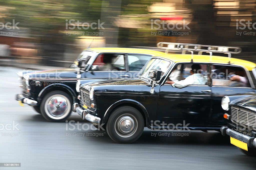 Indian taxi race stock photo