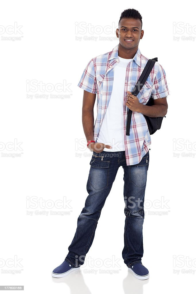 indian teenager boy with schoolbag stock photo