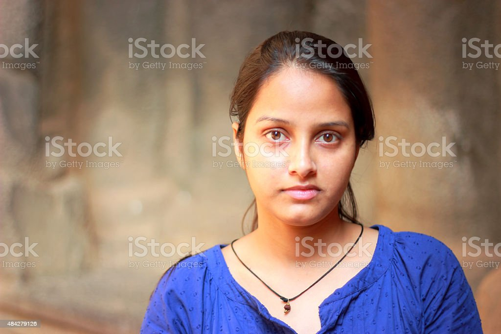 Indian teenager girl portrait with blurred background stock photo