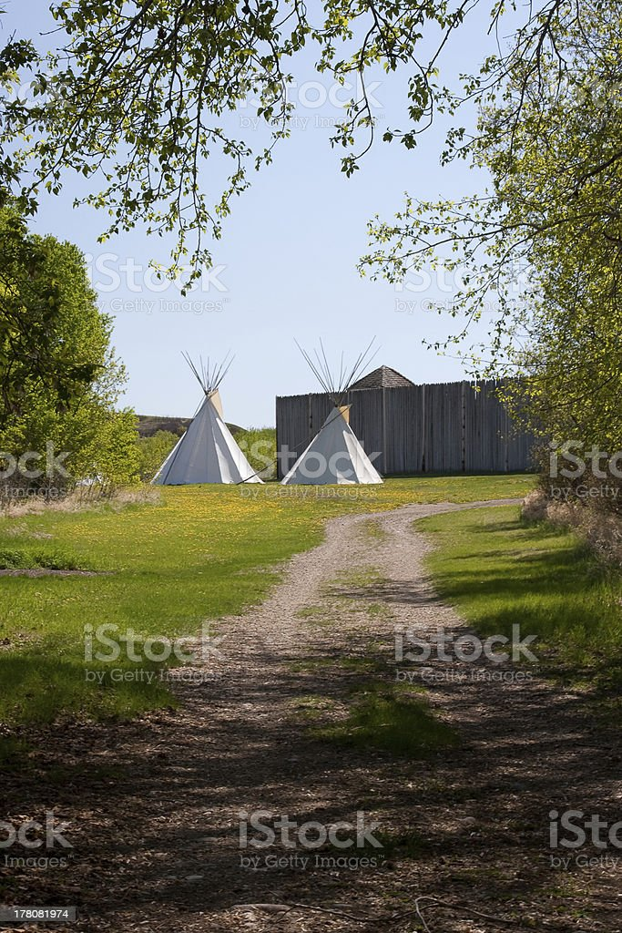 Indian Teepees outside Fort royalty-free stock photo