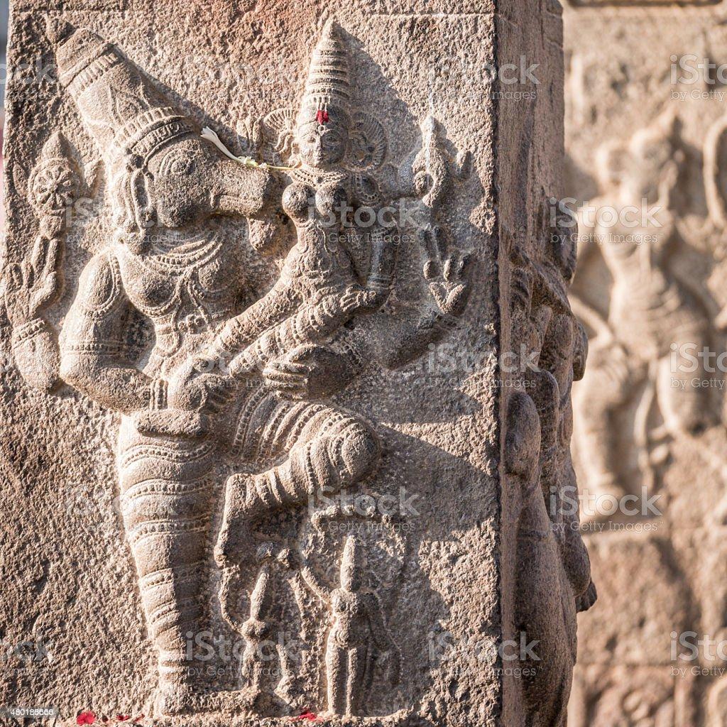 Indian temple sculptures, Thiruvidanthai, Tamil Nadu, India stock photo