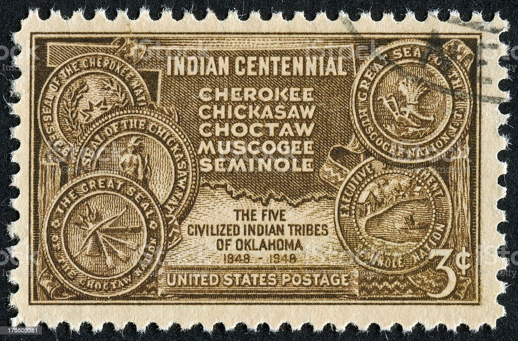 Indian Territory Of Oklahoma Stamp royalty-free stock photo