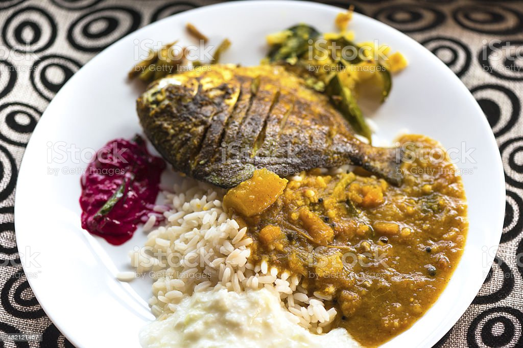 Indian Thali with fish stock photo