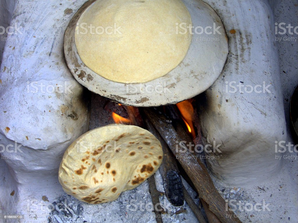 Indian thin wheat bread stock photo